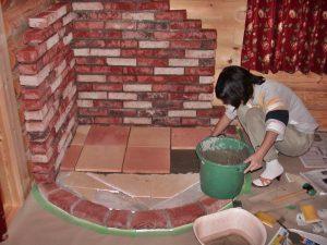 薪ストーブの炉台製作